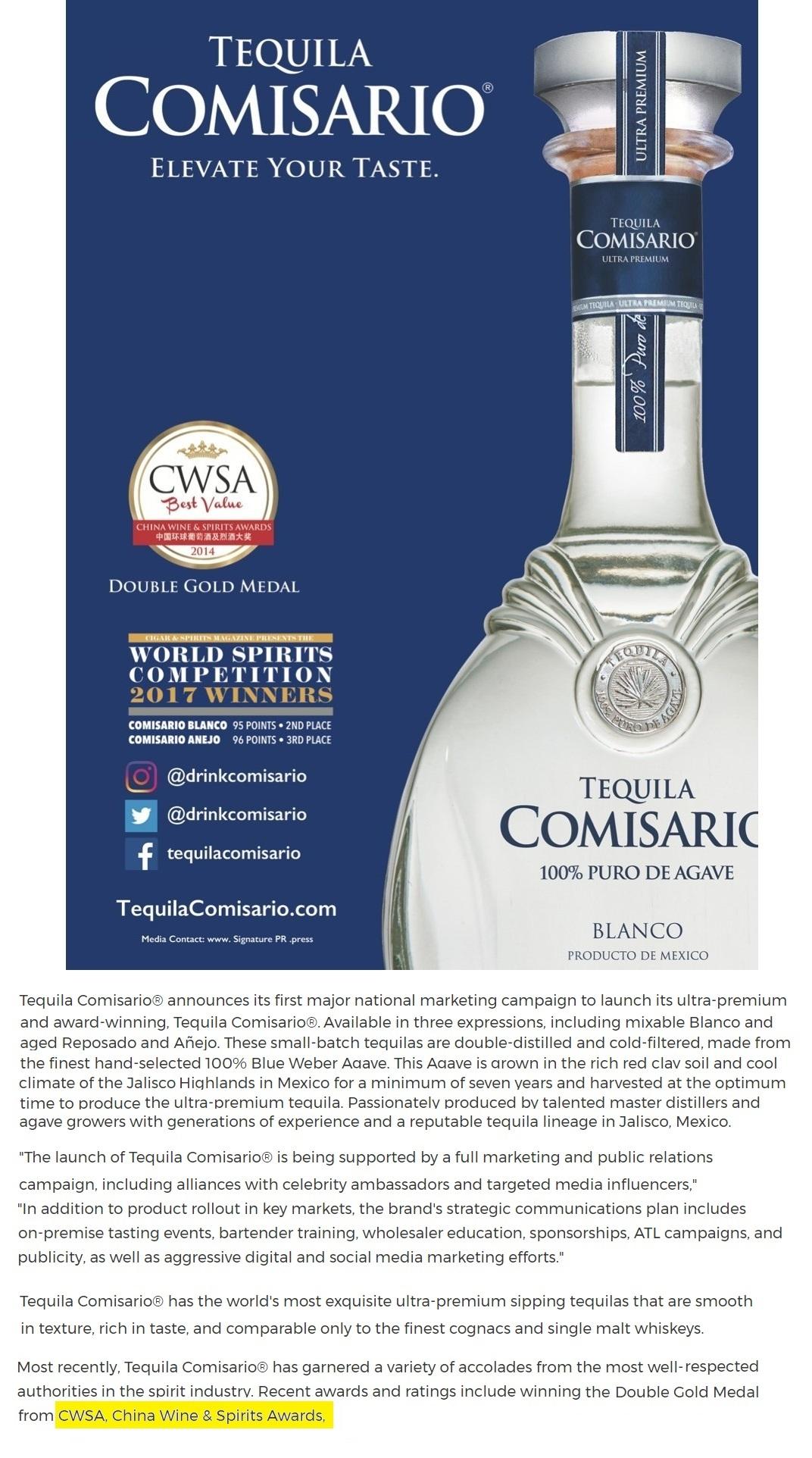 CWSA Winner Tequila Comisario - CWSA | China Wine & Spirits