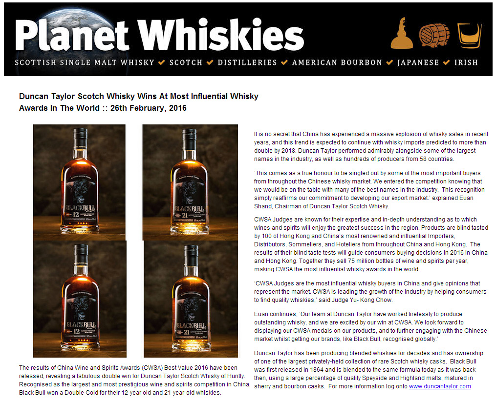 cwsa-press- Duncan Taylor Scotch Whisky